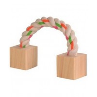 WOOD NIBBLER WITH ROPE 3 x 3 x 20 cm